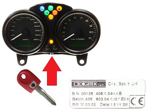 Ducati 1x chip sleutel → DIGITEK Dashboard