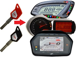 MV Agusta programmeren 2x transponder chip key → unit