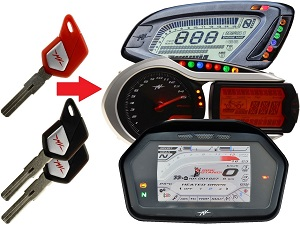 MV Agusta programmeren van 3x transponder chip key → unit