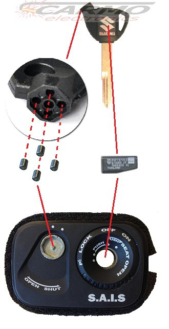 Suzuki Burgman blanco transponder chip key [Suzuki Burgman key