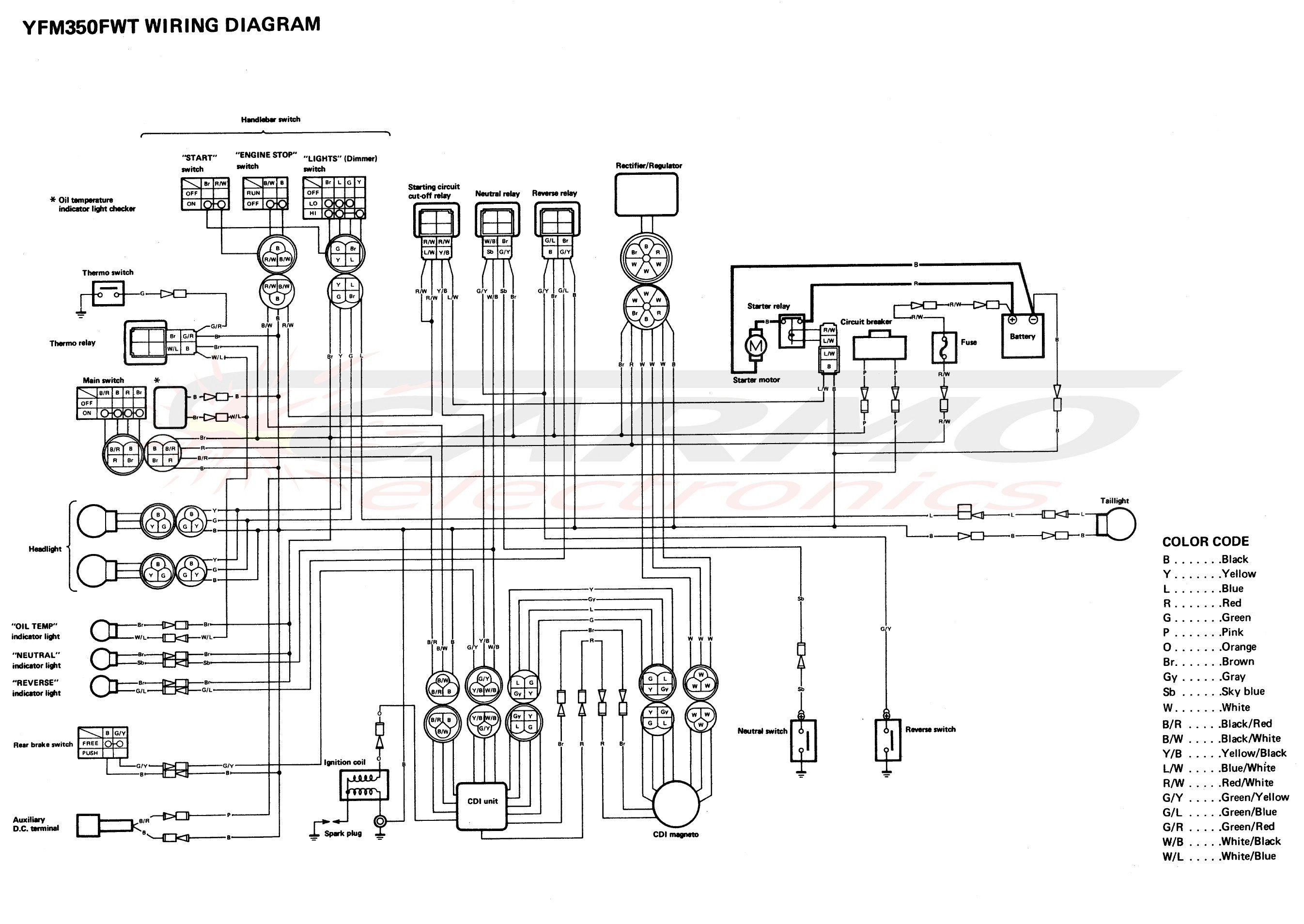 Yamama Moto4 YFM350FWT wiring diagram cdi igniton unit yamaha yfm350 big bear moto4 cdi (1yw 20) [carmo cdi set yfm350 wiring diagram for yamaha moto 4 at webbmarketing.co